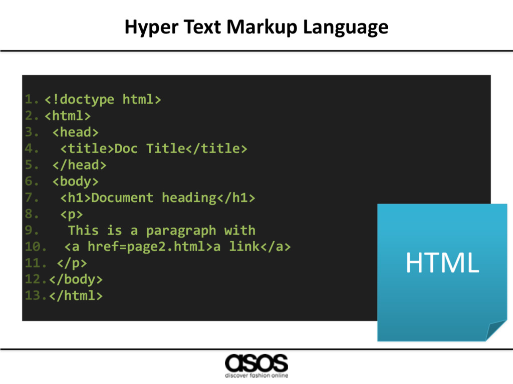 Hyper Text Markup Language 1. <!doctype html> 2...