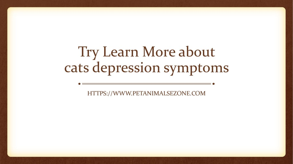 Try Learn More about cats depression symptoms H...