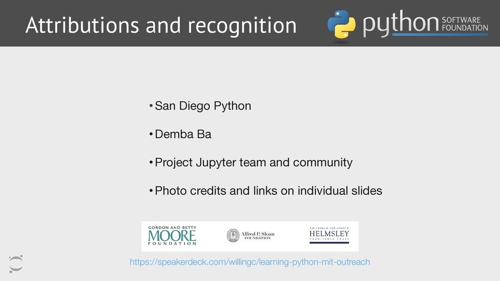 •San Diego Python  •Demba Ba  •Project Jupyter ...