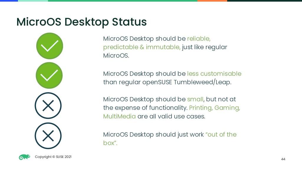 Copyright © SUSE 2021 44 MicroOS Desktop Status...