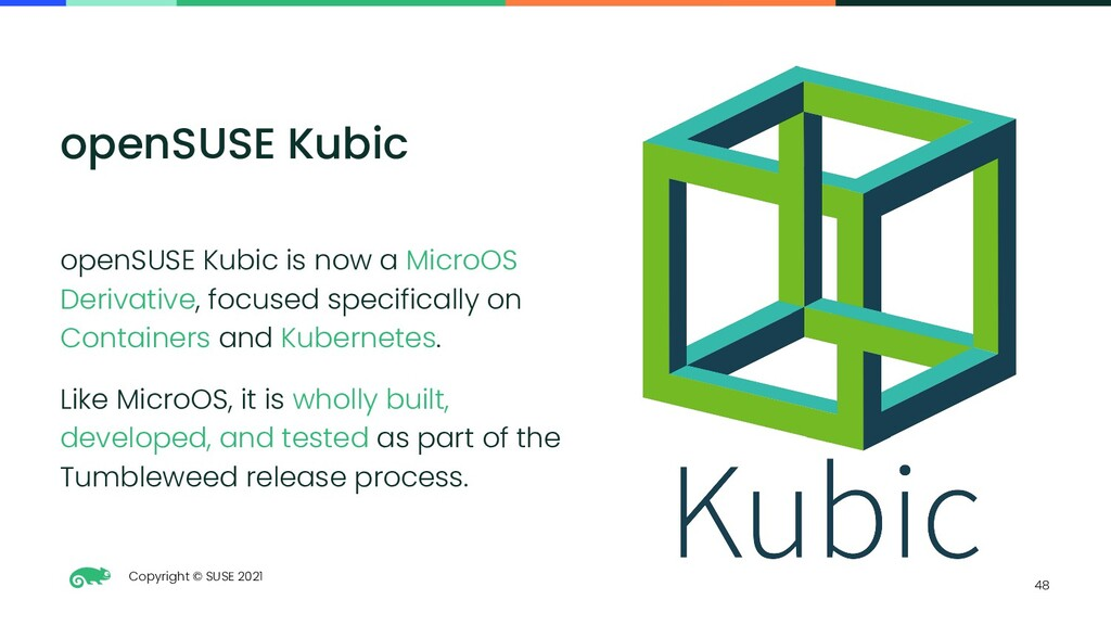 Copyright © SUSE 2021 48 openSUSE Kubic openSUS...