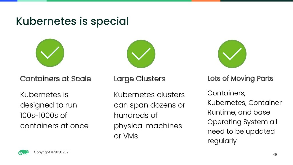 Copyright © SUSE 2021 49 Kubernetes is special ...
