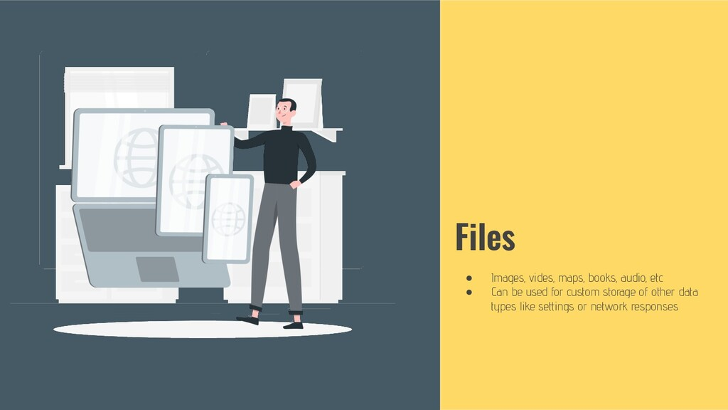 Files ● Images, vides, maps, books, audio, etc ...