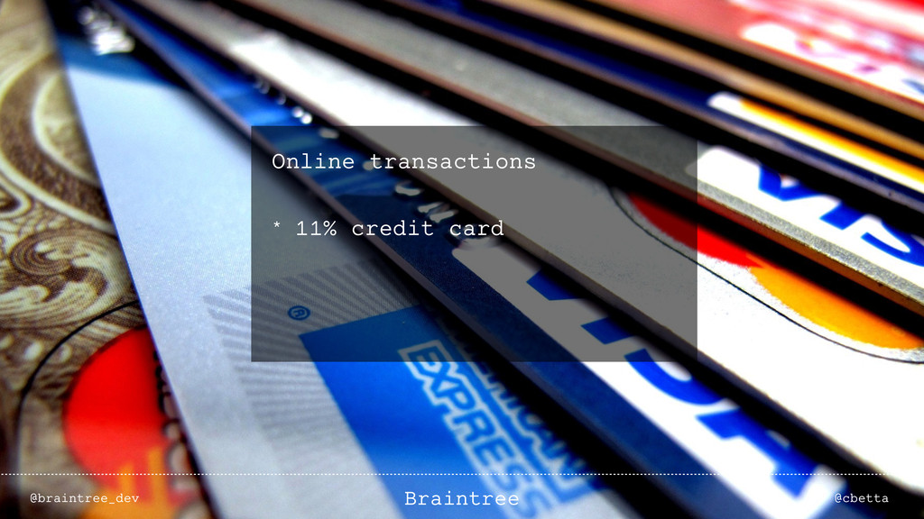 Online transactions * 11% credit card @braintre...
