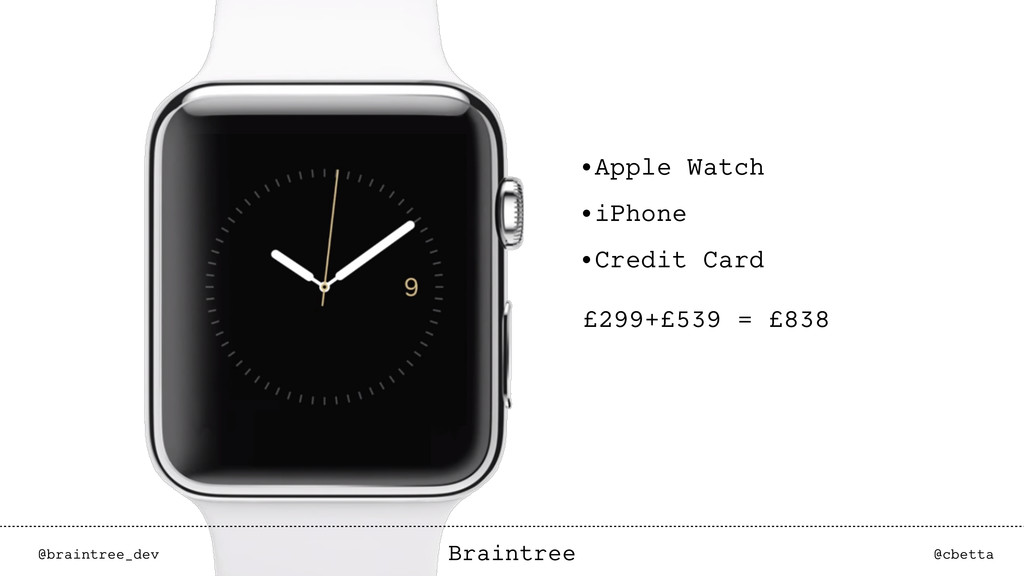 @braintree_dev @cbetta Braintree •Apple Watch •...