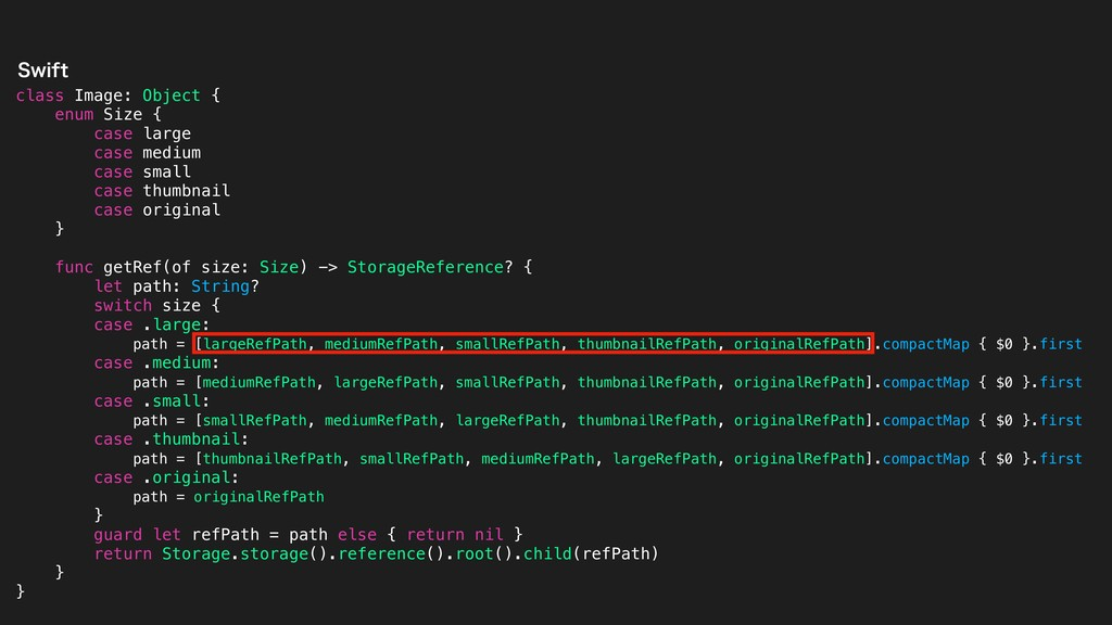 class Image: Object { enum Size { case large ca...