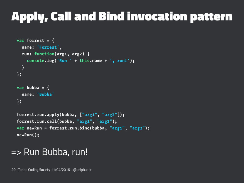 Apply, Call and Bind invocation pattern var for...
