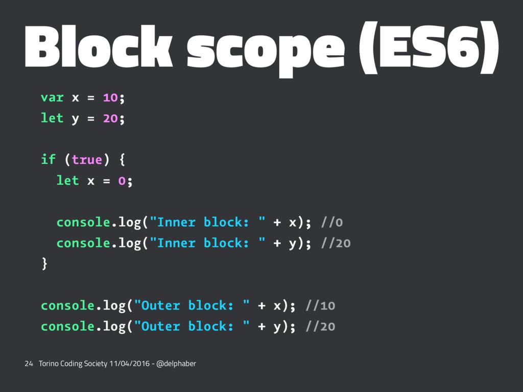 Block scope (ES6) var x = 10; let y = 20; if (t...