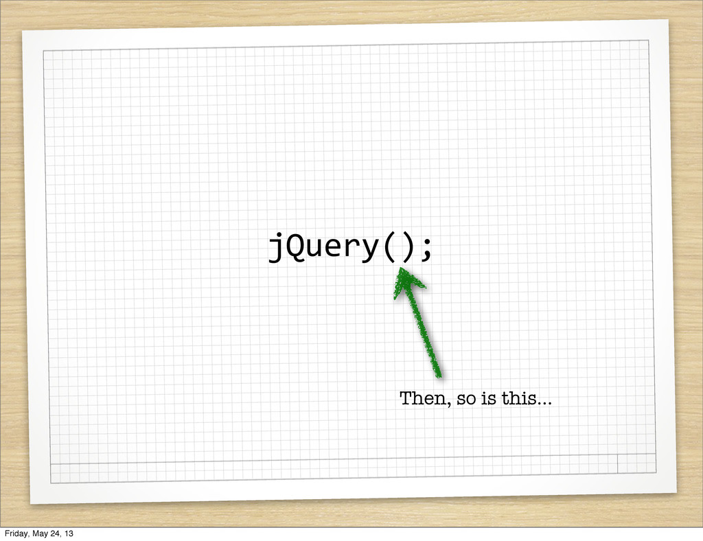 jQuery(); Then, so is this... Friday, May 24, 13