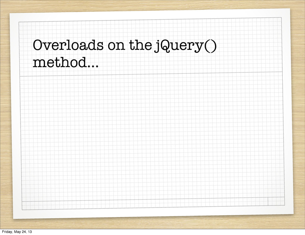 Overloads on the jQuery() method... Friday, May...