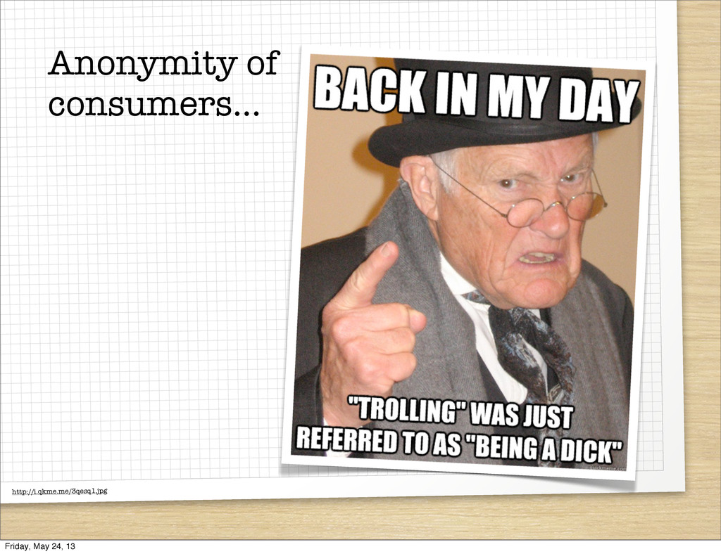 Anonymity of consumers... http://i.qkme.me/3qes...