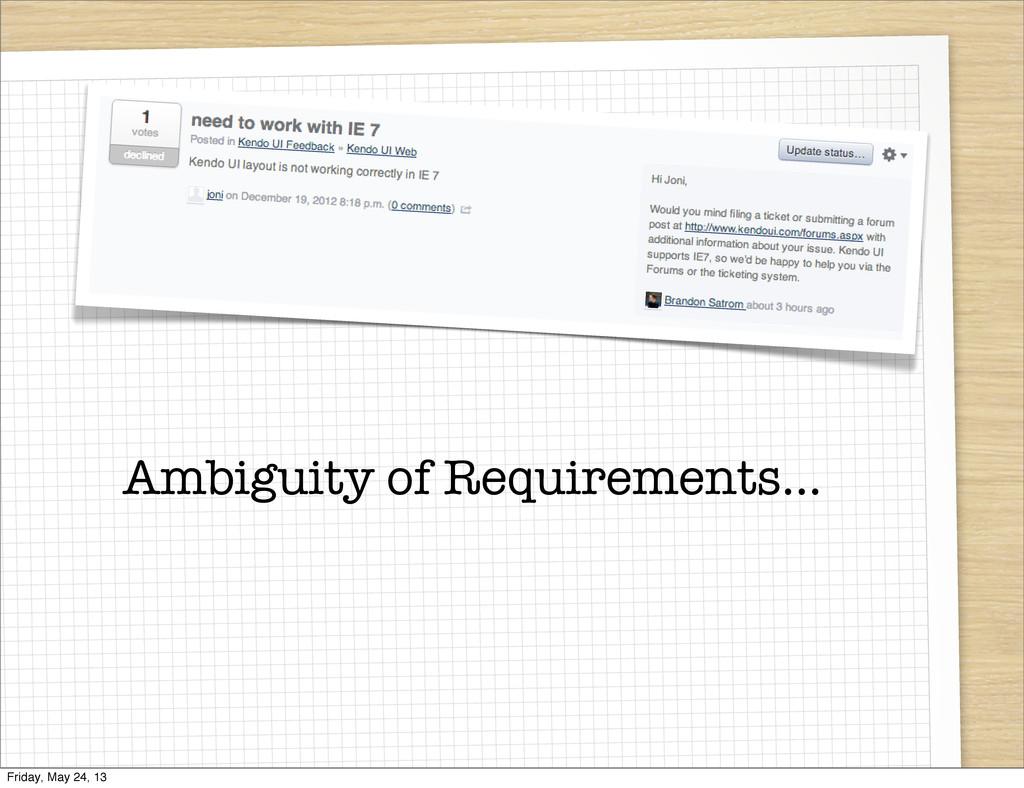 Ambiguity of Requirements... Friday, May 24, 13