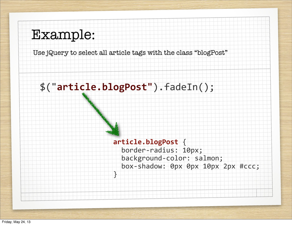 "Example: $(""article.blogPost"").fadeIn(); Use jQ..."