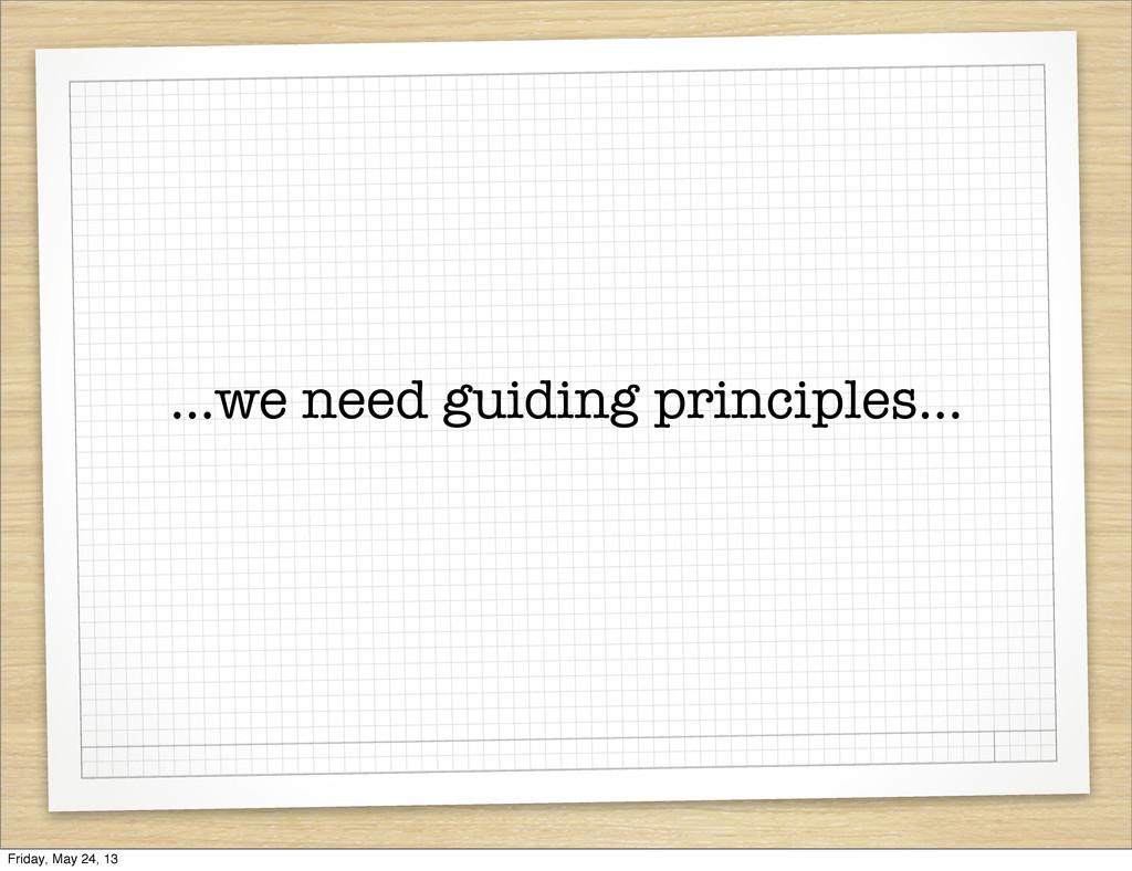 ...we need guiding principles... Friday, May 24...