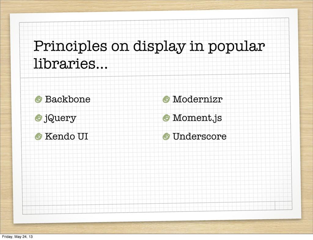 Principles on display in popular libraries... B...