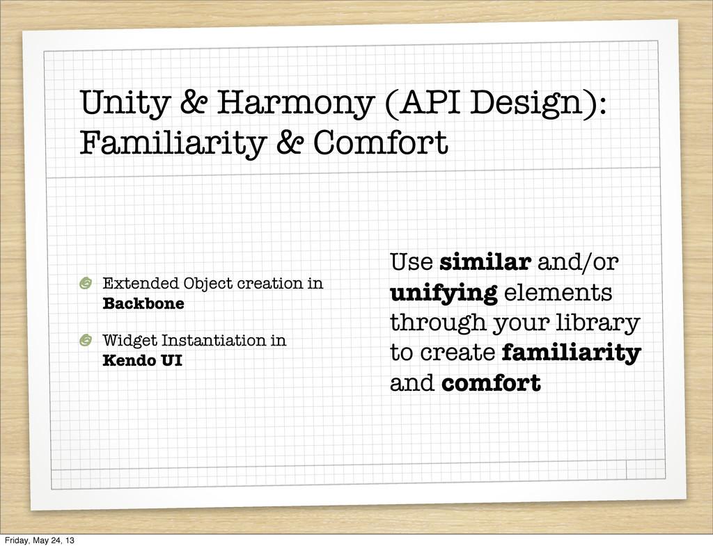 Unity & Harmony (API Design): Familiarity & Com...