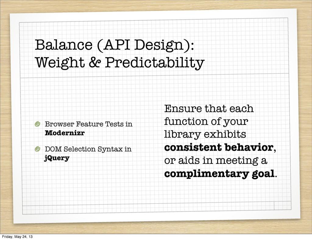 Balance (API Design): Weight & Predictability B...