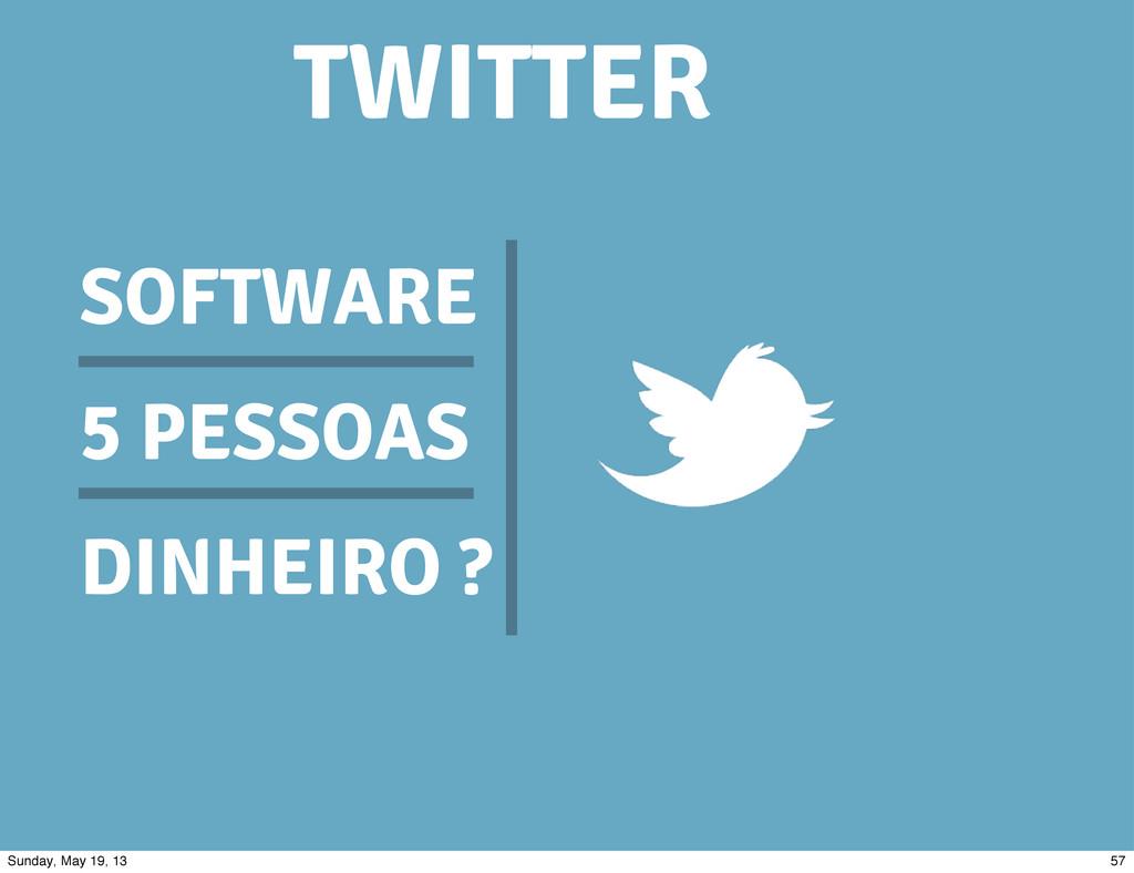 SOFTWARE 5 PESSOAS DINHEIRO ? TWITTER 57 Sunday...