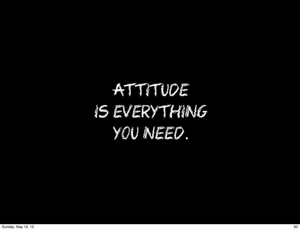 ATTITUDE IS EVERYTHING YOU NEED. 90 Sunday, May...