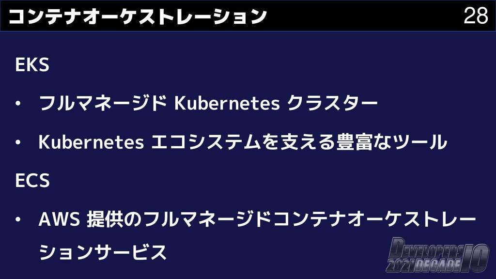 28 コンテナオーケストレーション EKS • フルマネージド Kubernetes クラスタ...