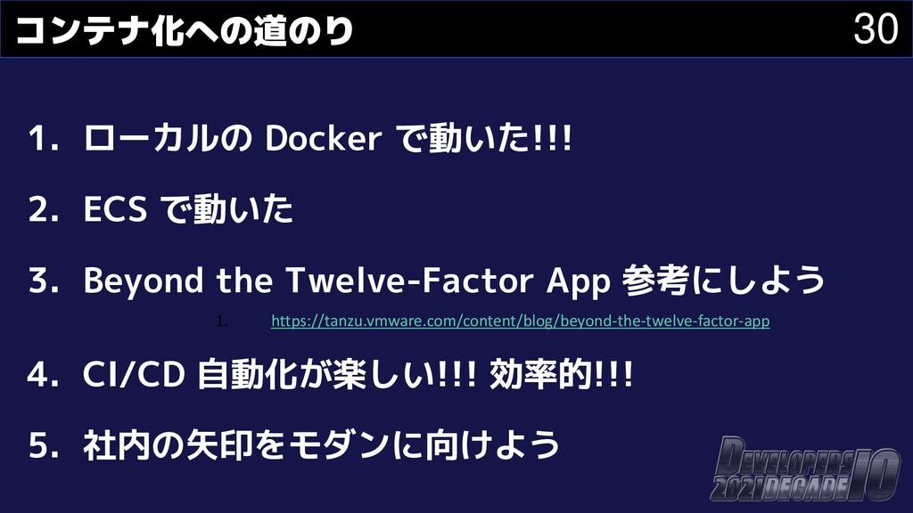 30 コンテナ化への道のり 1. ローカルの Docker で動いた!!! 2. ECS で動...