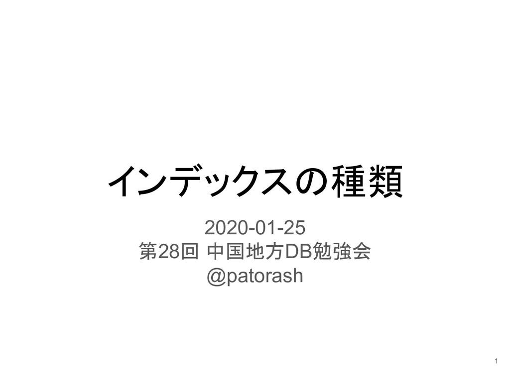 インデックスの種類 2020-01-25 第28回 中国地方DB勉強会 @patorash 1