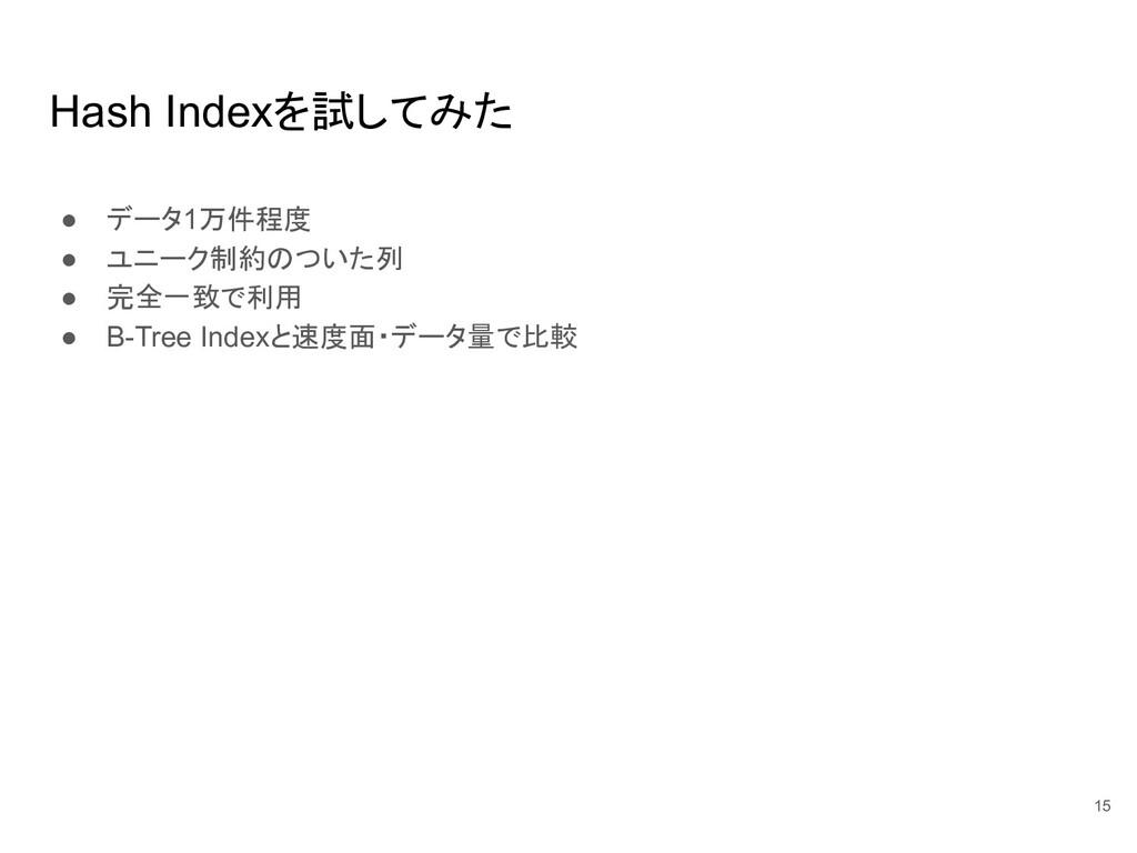 Hash Indexを試してみた ● データ1万件程度 ● ユニーク制約のついた列 ● 完全一...