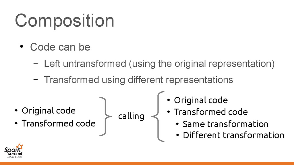 Composition ● Code can be – Left untransformed ...