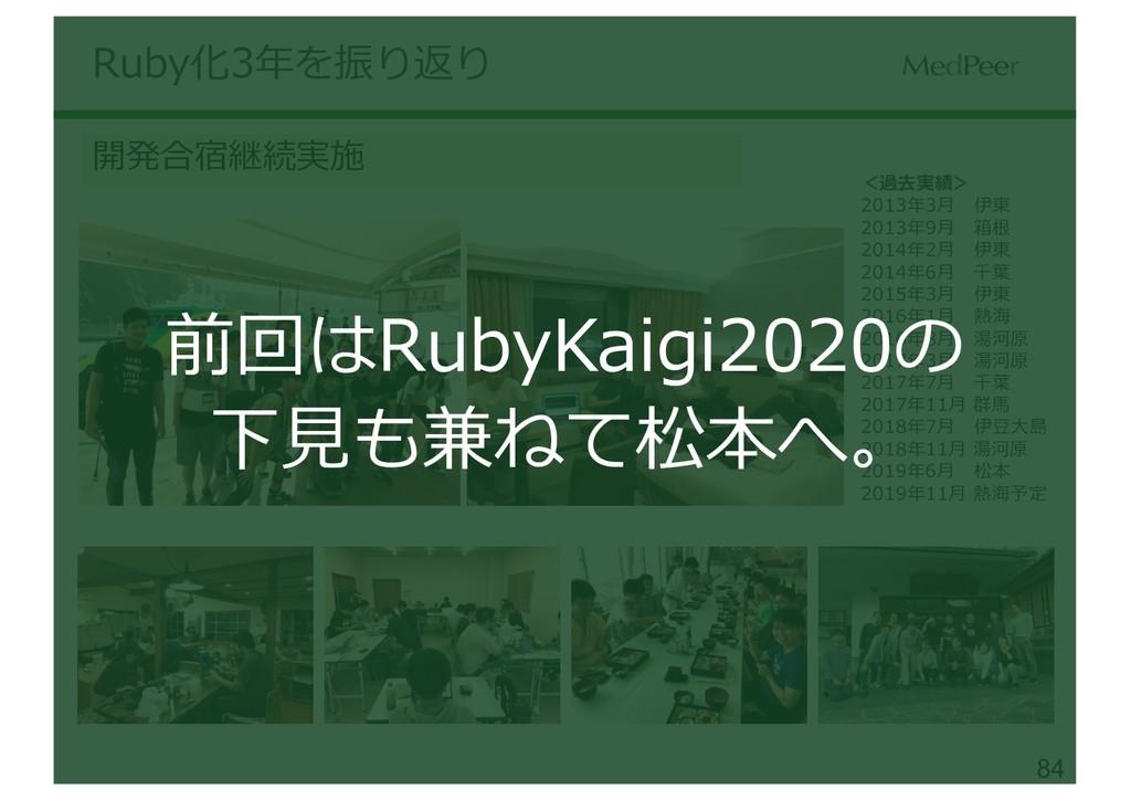 84 Ruby化3年を振り返り 開発合宿継続実施 <過去実績> 2013年3⽉ 伊東 2013...