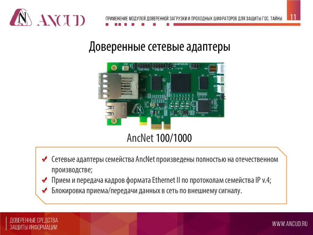 Сетевые адаптеры семейства AncNet произведены п...