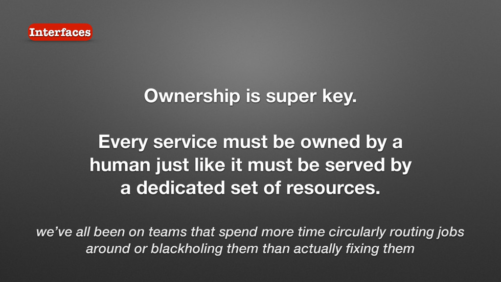 Interfaces Ownership is super key. Every servic...