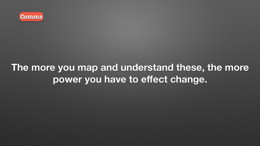 The more you map and understand these, the more...