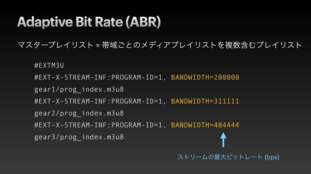 Adaptive Bit Rate (ABR) ϚελʔϓϨΠϦετ = ଳҬ͝ͱͷϝσΟΞϓ...