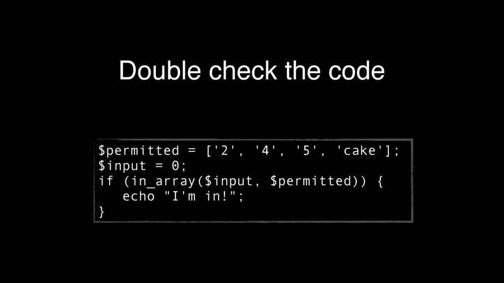 Double check the code $permitted = ['2', '4', '...