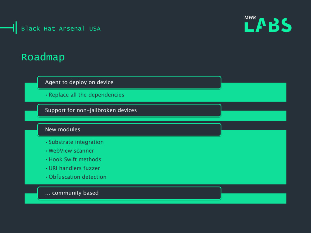 Roadmap Black Hat Arsenal USA •Replace all the ...