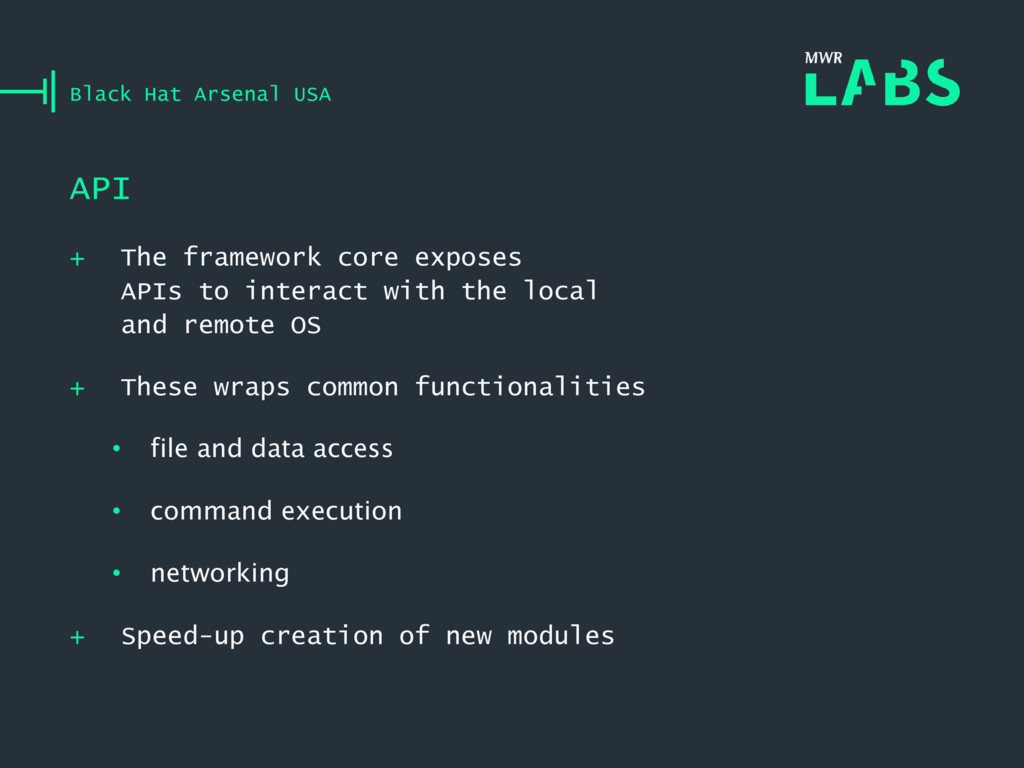 + The framework core exposes APIs to interact w...