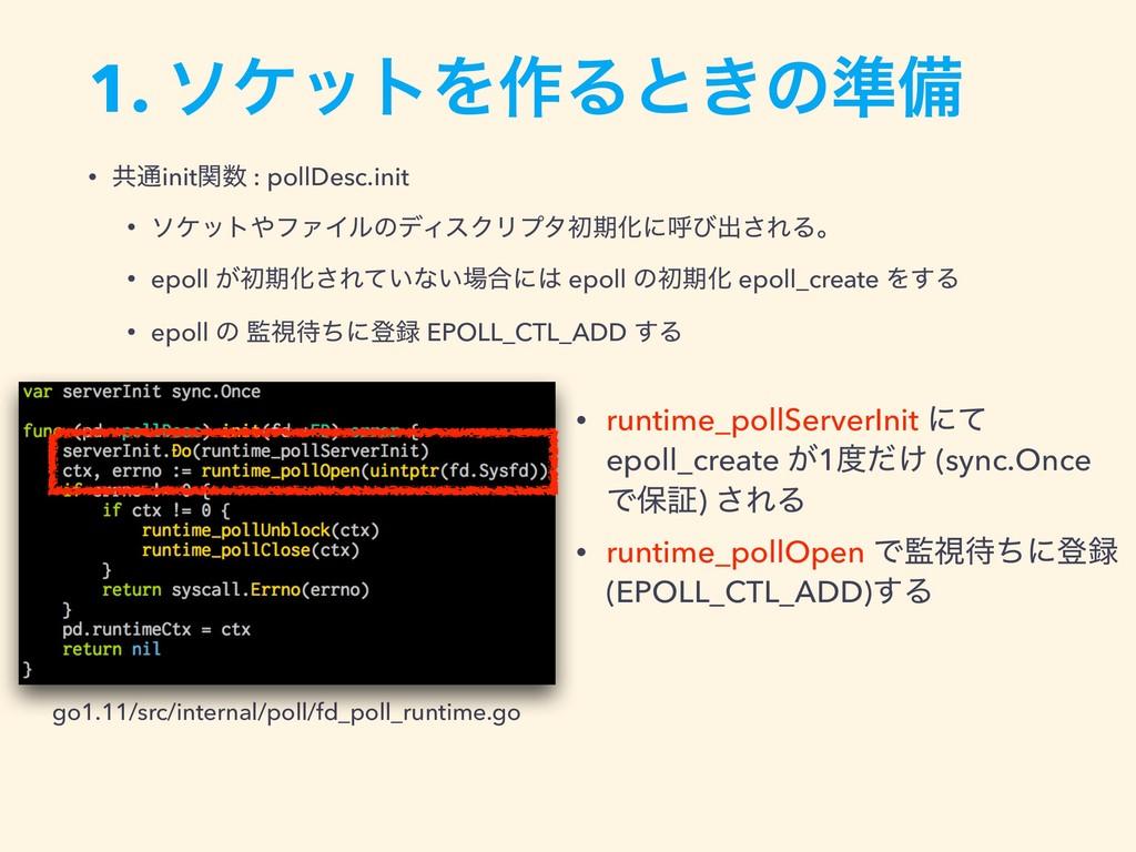1. ιέοτΛ࡞Δͱ͖ͷ४උ go1.11/src/internal/poll/fd_pol...
