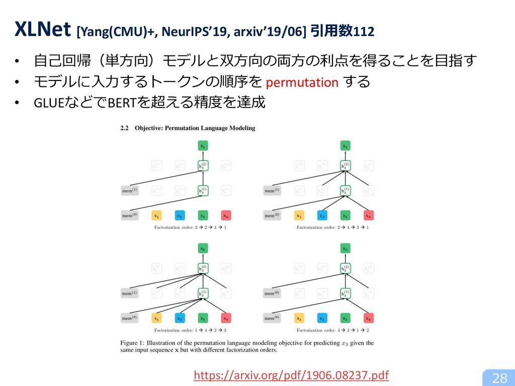 • ⾃⼰回帰(単⽅向)モデルと双⽅向の両⽅の利点を得ることを⽬指す • モデルに⼊⼒するトーク...
