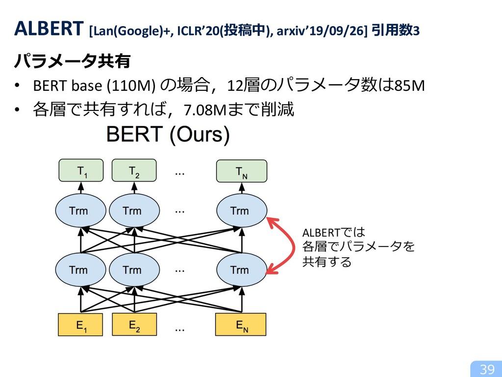 パラメータ共有 • BERT base (110M) の場合,12層のパラメータ数は85M •...