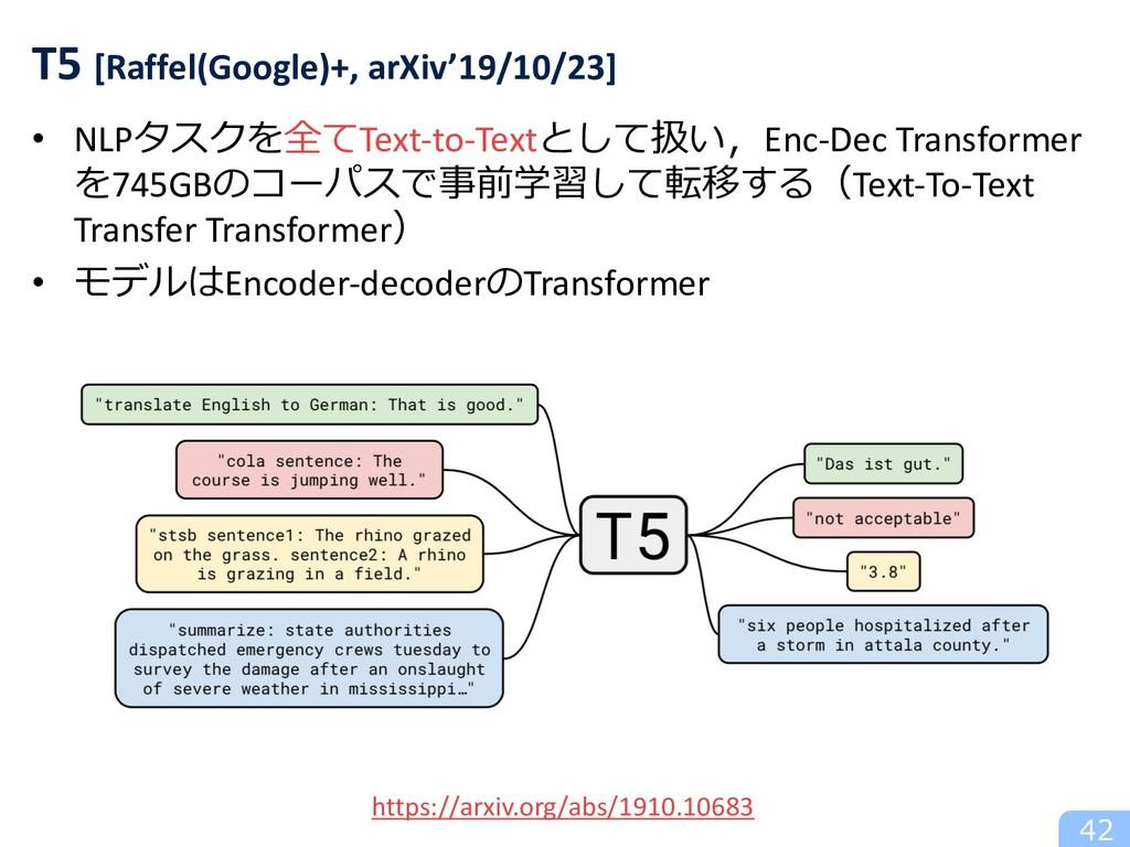 • NLPタスクを全てText-to-Textとして扱い,Enc-Dec Transforme...