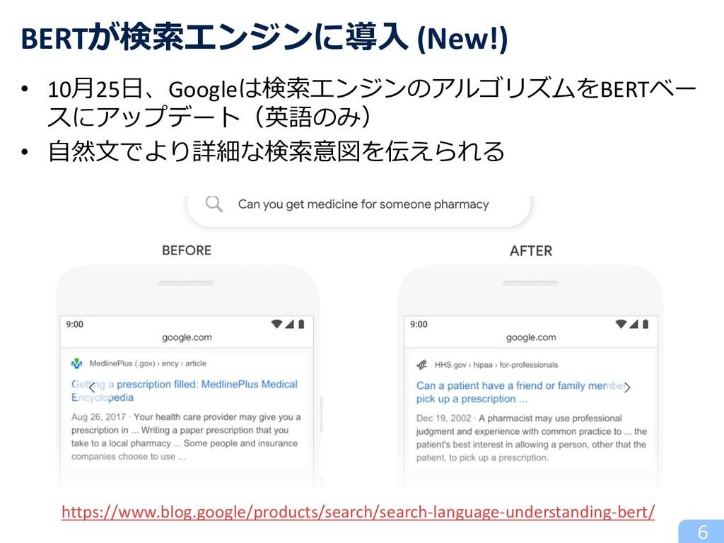 6 BERTが検索エンジンに導⼊ (New!) https://www.blog.google...