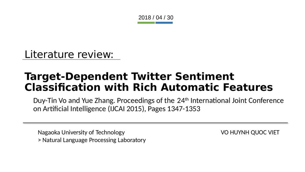 Literature review: Target-Dependent Twitter Sen...