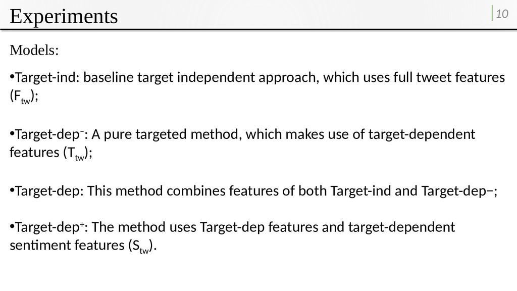 Experiments 10 Models: •Target-ind: baseline ta...