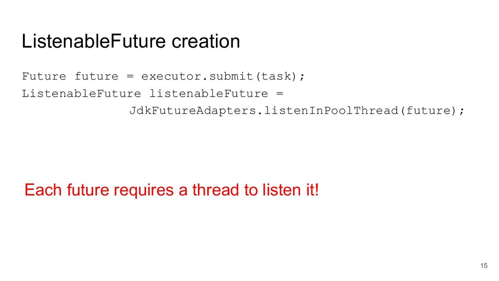 ListenableFuture creation Future future = execu...
