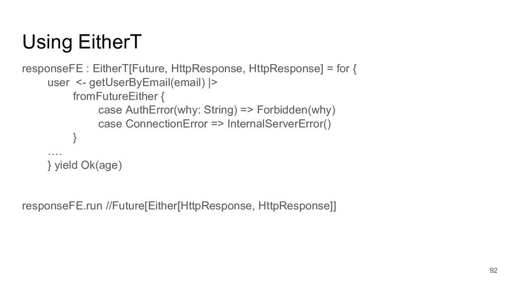 Using EitherT responseFE : EitherT[Future, Http...