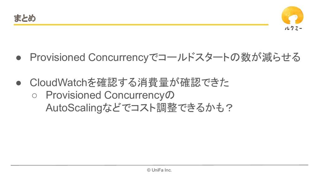© UniFa Inc. まとめ ● Provisioned Concurrencyでコールド...