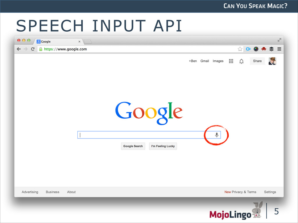 CAN YOU SPEAK MAGIC? SPEECH INPUT API !5