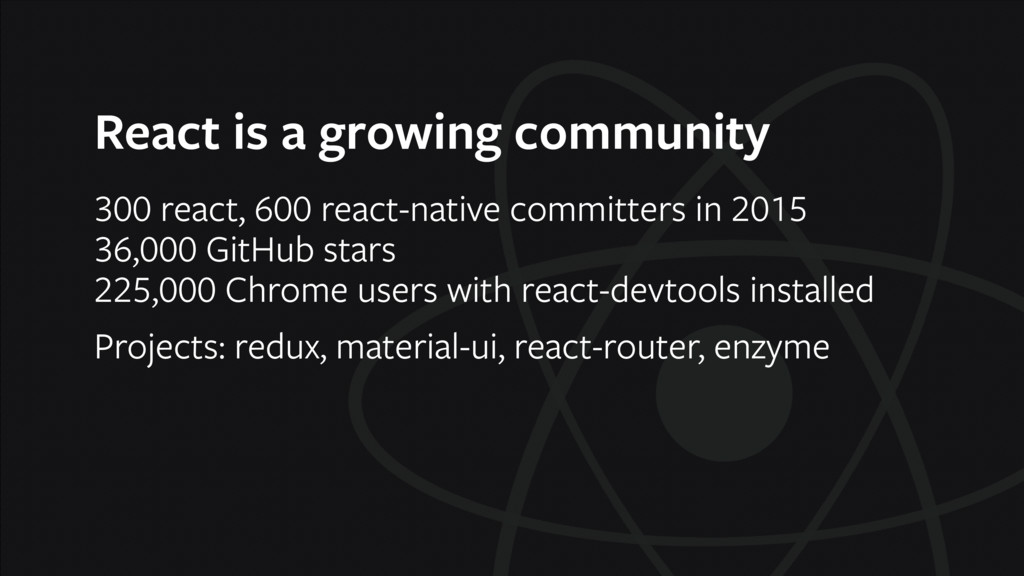 React is a growing community 300 react, 600 rea...