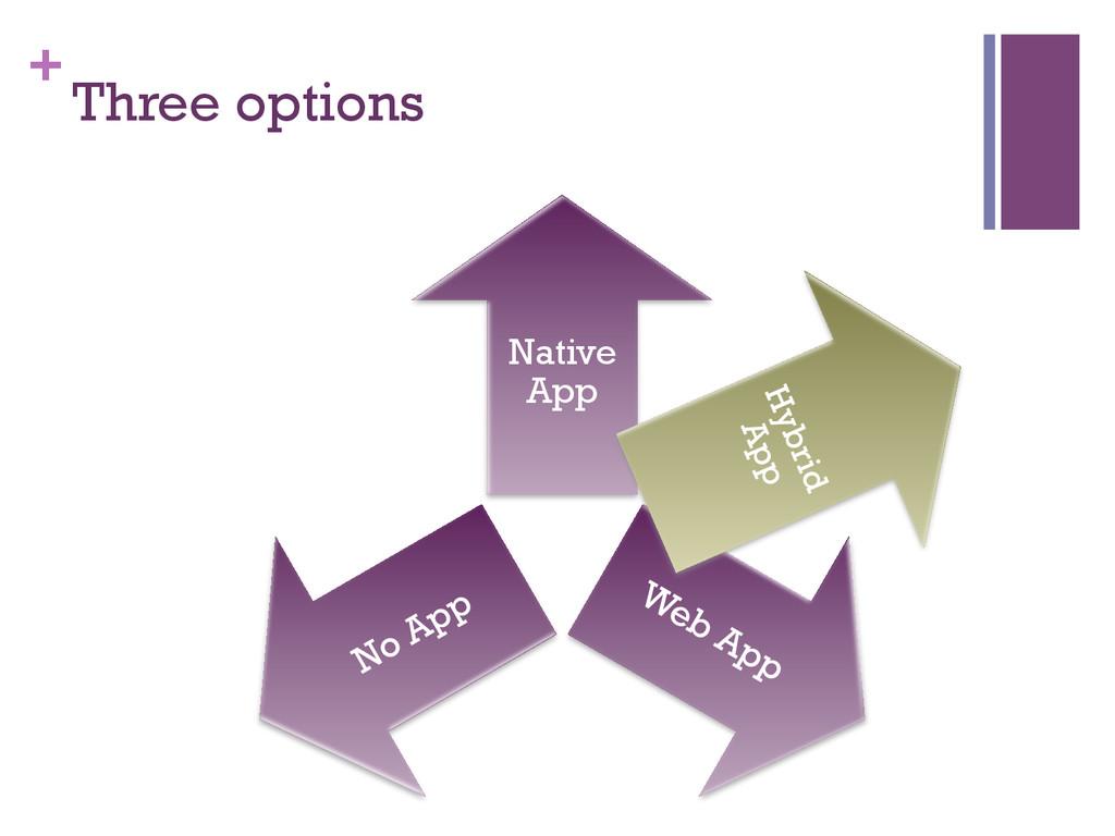 + Three options Native App