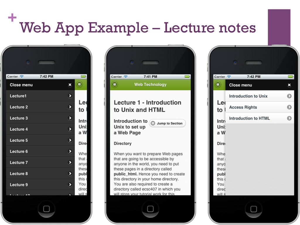 + Web App Example – Lecture notes